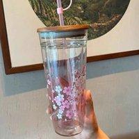 뜨거운 스타 벅스 머그잔 핑크 사쿠라 유리 컵 짚 14 색상으로 컵 동반 대용량