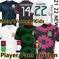 2021 Mexiko Fussball Jerseys ConcAcaf Gold Cup Camisetas 21 22 Fans Spielerversion Chicharito Lozano Dos Santos 2022 Nationalmannschaft Fussball Hemden Männer Frauen Kinder Kit