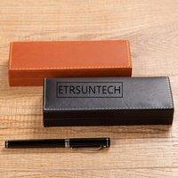 Gift Wrap 50pcs lot High-grade PU Leather Pencil Case Business Pen Plastic Bag Advertising Box School Supplies