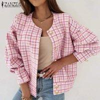 Women's Jackets ZANZEA Elegant Checked Printed 2021 Fashion Casual Long Sleeve Coats Women Vintage O Neck Button Plaid Overcoats Female