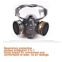 Tactical Hood Full Face Gas Mask With Glasses Safety Spray Paint Pesticide Decoration Formaldehyde Anti-Dust Filter Respirator