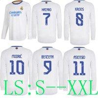 21 22 real madrid long sleeve home jerseys soccer lcon retro 2022 2021 Casemiro hazard BENZEMA modric bale football shirt mujer feminine camiset