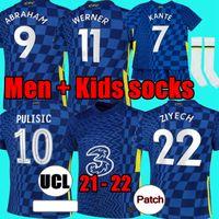 Tayland Dördüncü 20 21 22 Werner Haertz Chilwell Ziyech Futbol Formaları 2021 2022 Pulisik Ev Mavi Futbol Gömlek Kante Dağı 4th Erkekler Çocuklar Seti Setleri Socks Socks