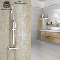 """Polished Chrome Constant Temperature 8"""" Rainfall Shower Faucet Set Dual Handle Wall Thermostatic Mixer System Bathroom Sets"""