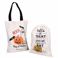 Party Trick Or Treat Pumpkin Candy Sack Halloween Spiders Bucket Horror Witch Pattern Tote Bag For Festival