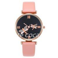 5pcs Fashion Rome scale watch foreign trade custom Dragonfly pattern belt women's Quartz Watch-1-2