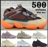 Kanye reflexivo rata del desierto 500 zapatos corrientes del mens de visión suave piedra hueso hombres mujeres blancas del estilista las zapatillas de deporte con la caja