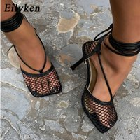Eilyken Summer Autumn Sexy Mesh Pumps sandals Female Square Toe high heel Lace Up Cross-tied Stiletto hollow Dress Pumps shoes Y0611