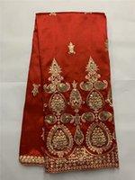 Afrika George Wrapper Kırmızı George Dantel Kumaş Yüksek Kalite Elbise için Afrika George Kumaş 5 Yards / lot FB1122