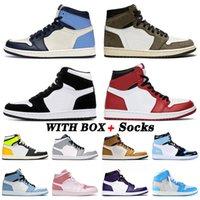 nike air jordan retro 1 1s off white Kutu Ile Basketbol Ayakkabı Erkek Kadın Off Yüksek Obsidiyen UNC Patent Chicago Büküm Cacuts Jack Beyaz Volt Altın Eğitmenler Sneakers 36-46