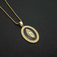 Pendant Necklaces Men's Women's Virgin Mary Necklace Gold Color Stainless Steel Chains For Men Women Religious Jewelry Gift Drop