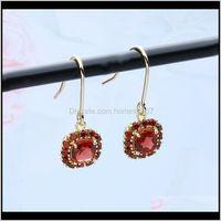 Earrings Jewelryearrings Temperament Natural Red Pomegranate Womens Simple Suit Boucle Doreille Bijoux Femme Aros Earing Hoop & Hie Drop Del