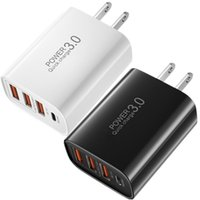 30W سريع سريع شحن نوع C USB-C EU US UK AC Travel Home Travel 4ports Wall Chargers Power Adapter for iPhone 11 12 Samsung LG Android الهاتف