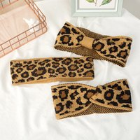 Big Kids Headbands Fashion Knitted Leopard Cross-tie Girls Headwraps Elastic Knot Children Headwrap Hair Accessories for Girl 1425 B3