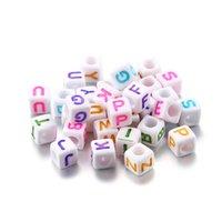 120pcs ronds plate acrylique lettre perles alphabet spacer perles en vrac pour bijoux bricolage fabrication de fournitures accessoires de bracelet 1233 Q2