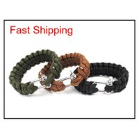 10 stücke Paracord Kit Military Notrufe Armband Charme Armbänder Unisex U Schnalle 3 Farben 9T3NN ACL7F