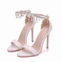 Sandals Women's high-heeled shoes crystal queen, elegant wedding , sandals with pearls and freebies, white party E23V