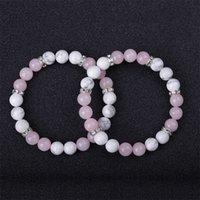 Любовник 8 мм розовый камень бирюзовые бусины браслет женские мужчины браслеты из бисера ручные струны пара 1643 q2