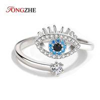 Tongzhe 925 Sterling Sierling Sierling Dedo Anillos para Mujeres Luck Evil Ovara Anillo Abierto Azul Piedra Joyería de Lujo Regalo