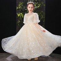 골드 플라워 소녀 드레스 작은 여자 미인 드레스 공 가운 미인 가운 새틴 손으로 만든 꽃 활 2021 유아 미인 드레스