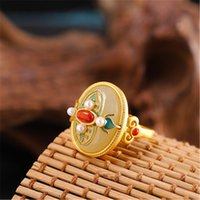 s925 silver Hetian jade girl ring gorgeous vintage palace style gold-plated burnt blue craftsmanship Adjustable opening