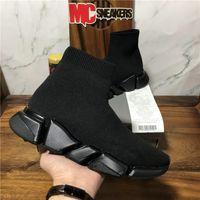 En Kaliteli Çiftleri Moda Tasarımcılar Ayakkabı Bayan Hız 2.0 Sneakers Erkek Kadın Üçlü S Siyah Açık Platformu Çorap Rahat Trainer