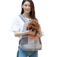 الحيوانات الأليفة حقيبة مزدوجة الكتف المحمولة حقيبة السفر في الهواء الطلق الكلب الناقل الجبهة شبكة رأس مربع