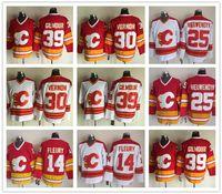 Calgary Flames Buz Hokeyi Jereseys Erkekler 25 Joe Nieuwendyk 30 Mike Vernon 39 Doug Gilmour Kırmızı Beyaz Vintage 14 Theoren Fleury Jersey