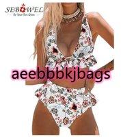 Bikiniler Set Sebowel Beyaz Çiçek Baskı Ruffles Yüksek Beledilmiş Bikini Artı Boyutu Push Up Kadın Maillot de Bain Femme Mayo 2xl1