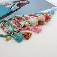 Gioielli fatti a mano all'ingrosso 2021 Boemia arcobaleno gioielli colore morbido ceramica braccialetto con guscio nappa braccialetto