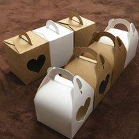 Kraftpapier Cupcake-Kasten mit Griff-Hochzeit Geburtstag weiße braune Karton-Kuchenboxen für Verpackungsgeschenke y1161