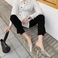 Dress Shoes Pointed Toe Semi-slippers Women's Square Heel Retro Mueller Sandals Slingbacks Chunky Heels Serpentine Pumps