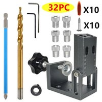 Professional Hand Tool Sets 32 38 52pcs Carpentry Drill Guide Puncher Oblique Pocket Hole Dowel Jig Locator Self Centering Kit