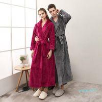 Женские пижамы осенью и зимой утолщенные фланель Beibei бархатная пара пижамы для мужчин женщин плюс удлиненный фиксированный ремень халат