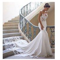 Mangas de vestido de novia de la sirena 2021 Vestidos de Novia Vintage Cordillo Cuello Cuello de novia Vestido de boda sin espalda