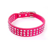 Dog Collars & Leashes PU Leather Adjustable Pet Collar Rhinestone Neck Lead Necklace Pink Pets Pomeranian Collare Cane Leash Dogs EE5QY