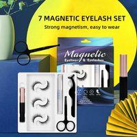 Maquillaje de ojos 3 pares 7 imán magnético Pestañas falsas con delineador de ojos líquido y pinzas Kit reutilizables No se necesita pegamento