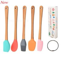 5pc Set Baking & Pastry Tools Mini Silicone Spatula Scraper Basting Brush Spoon for Cooking Mixing Nonstick Cookware Kitchen LLA5960