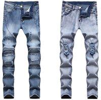 Jeans maschile uomo strappato afflitto motociclista stretch per uomo Pantaloni moto Skinny Brand Slim Plus Size Pantaloni moda casual