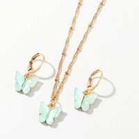 Fashion Butterfly Pendant Necklace Set Design Selling Personalized Gold Color Animal Chains