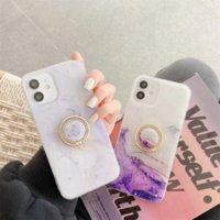 Purpurroter Marmor Glitter Flocke Ring Telefon Hüllen mit Kickstand für iPhone 12 11 Pro Promax X XS MAX 7 8 Plus Fallabdeckung