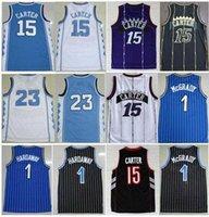 كلية كرة السلة ارتداء رجل كارولاينا الشمالية vince15 # كارتر الأزرق الأبيض الرياضية الفانيلة تريسي 1 # mcgrady الرياضية penny 1 # hardaway jersey