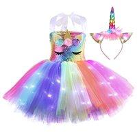 Хэллоуин светящиеся единорог девушка летнее платье светодиодный детский хэллоуин принцесса радужные платья + монастырь для волос костюм вечеринка без рукавов детская одежда G89AV5Z