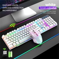 Teclado de jogos sem fio e mouse combo com arco-íris LED RethargeableLle Combos