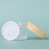 5G 10G 15G 30G 50G 100G Vazio Garrafa Fosco Creme de Glass Creme Jars Recipientes de Embalagem Cosméticos com Cobertura de Grão de Madeira Plástico