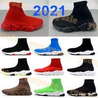 2021 Estilista Paris Sock Sapatos Moda Sneakers Mens Prauna Royal Triple Preto Branco Vermelho Vermelho Homens Verdes Mulheres Treinadores Esportivos US 6-12