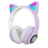 TWS Bluetooth Auricolare High Qulity RGB Cat Ear Cuffie Cuffie 5.0 Bass Noise Cancellazione per bambini Ragazza Auricolare Supporto per cuffie TF con scheda regalo MIC BRACE