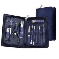 Blue Blue 12 em 1 Manicure Set Nail Clipper Kit Profissional Grooming Ferramentas com Caso de viagem de couro para mulheres e homens
