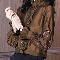 LDYRWQY Frühling und Herbst Design Hong Kong Stil Holzohrkante mit einer Basis der langen Ärmeln Chiffon Shirt 210416