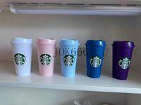 المبيعات الساخنة ستاربكس البلاستيك بهلوان قابلة لإعادة الاستخدام واضح شرب شقة أسفل كوب عمود شكل غطاء القش القدح بارديان